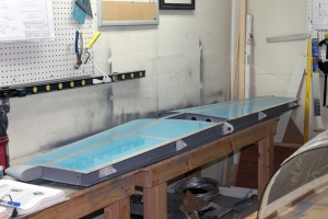 The horizontal stabilizer back on the workbench and ready for elevator fitting.
